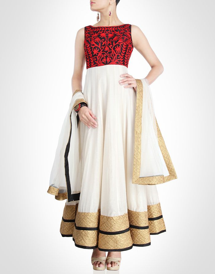 Seema Gujral collection | Anarkali. Reminds me of Onam