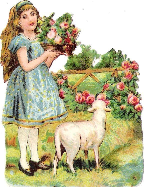 Oblaten Glanzbild scrap die cut chromo lady Kind child enfant Scha f Lamm lamb