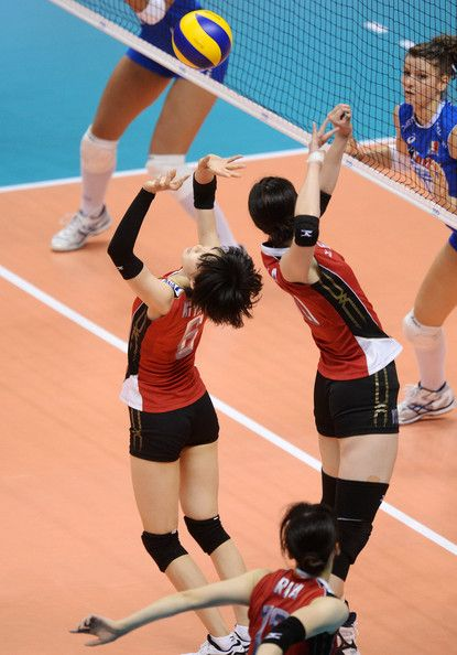 Haruka Miyashita of Japan in action during day one of the FIVB World Grand Prix Sapporo 2013 match between Japan and Italy at Hokkaido Prefectural Sports Center on August 28, 2013 in Sapporo, Hokkaido, Japan.