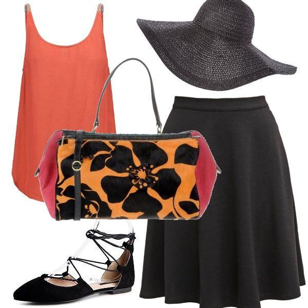 Tutto ruota attorno a questa borsa meravigliosa e ai suoi colori. L'arancio della canottiera è spezzato dalla gonna scura e dal cappello in tinta, scarpe ballerine per una cerimonia in campagna!
