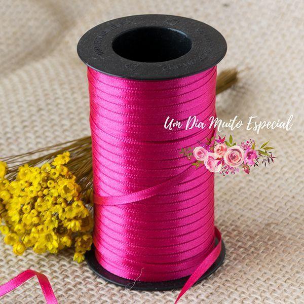 Fita Cetim Rosa Pink 4 Mm Bem Casado Crepom Embalagem 100m - Lembrancinhas e Decoração Romântica para Festas | Um Dia Muito Especial