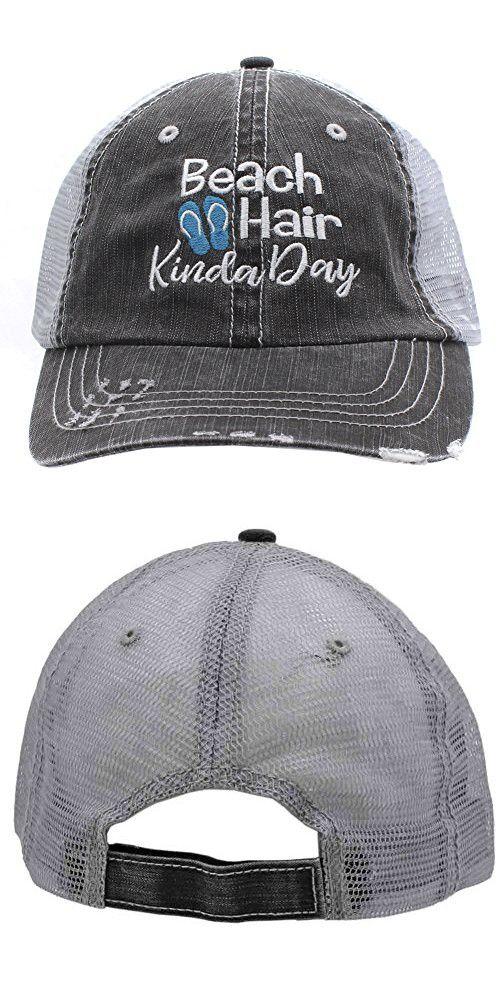 beccc93d18e4c4 Turquoise Flip Flops Beach Hair Kinda Day Women Embroidered Trucker Style Cap  Hat