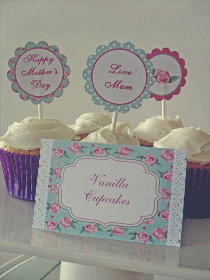 Mothers Day Printables. Floral and lace party printables. Buffet labels, cupcake toppers.