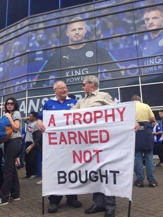 Leicester City Football Club fans with a brilliant message.
