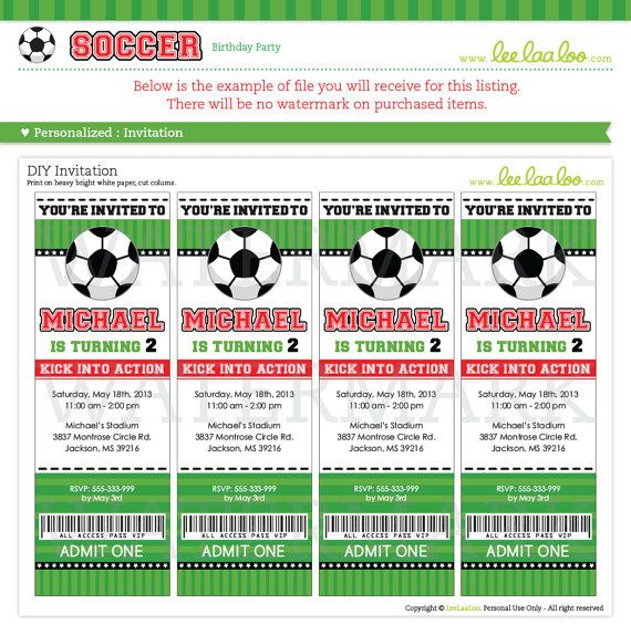 soccer birthday party invitation personalized by leelaaloo on etsy - Soccer Party Invitations
