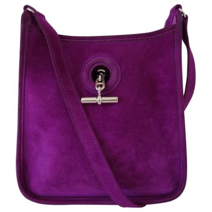 HERMÈS Purple Leather Handbag