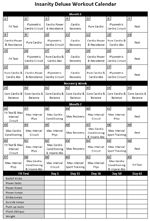 Printable Insanity Workout Calendar since I keep losing mine   :/