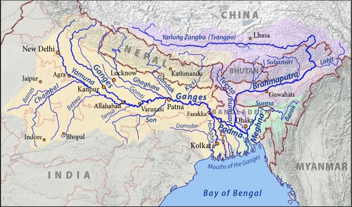 Course of Ganga (Ganges) River from Gangotri to Bay of Bengal - General Knowledge Today
