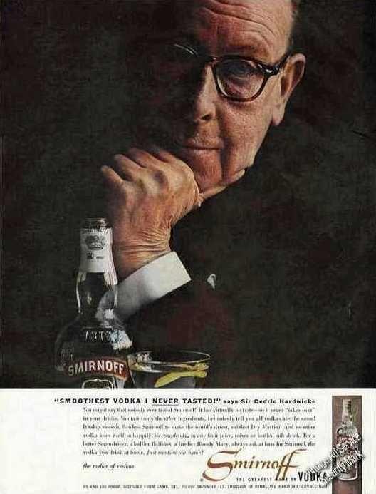 Sir Cedric Hardwicke Photo Smirnoff Vodka Ad 1958