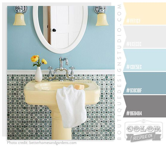 Love this color pallette. Yellow in kitchen, light gray in great room, blues in mudroom, laundry, etc.