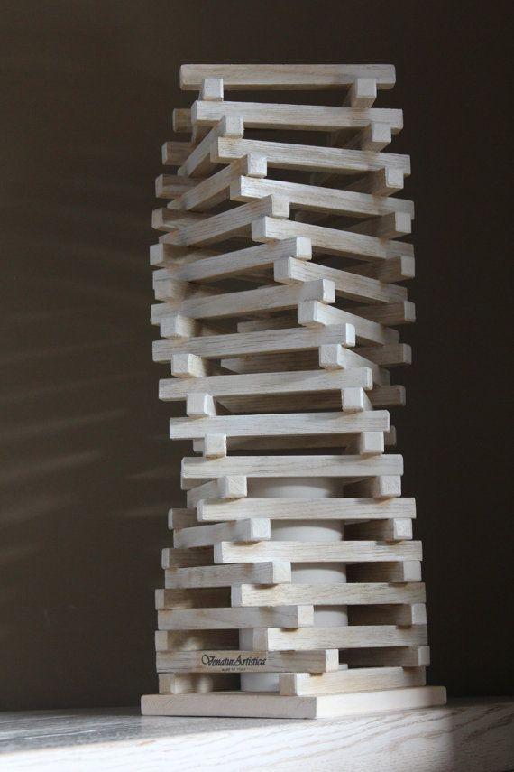 Lampada di legno di rovere  Luce di legno  di VenaturArtistica