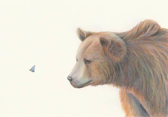 Bear and butterflies  fine art print/ children's room