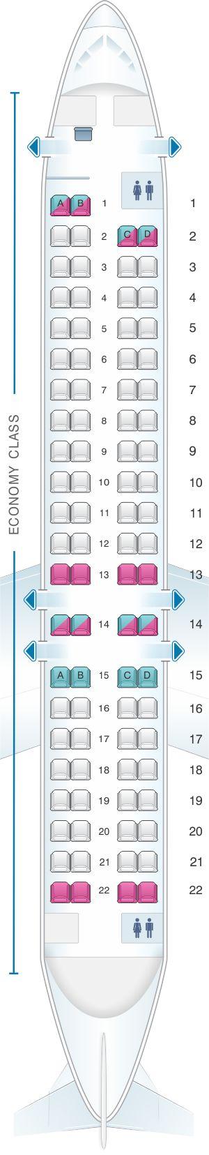 Seat Map Adria Airways Bombardier CRJ 900LR