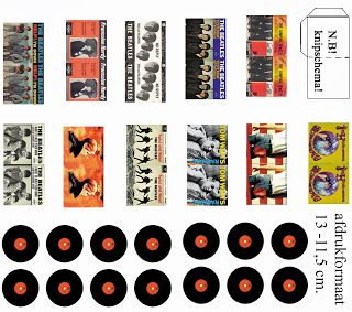MINIATURE PRINTABLE RECORDS WITH SLEEVES, MINIDESIGN: Nostalgie....... Singles ......