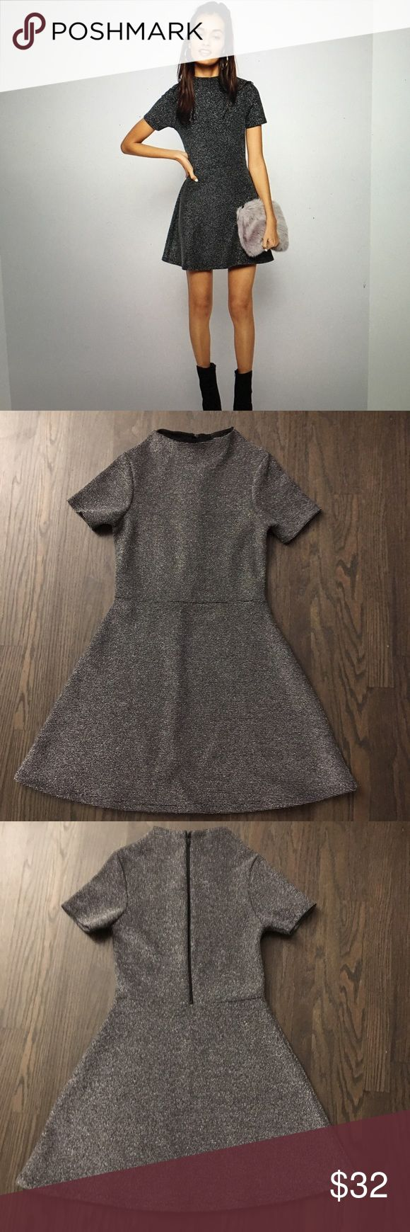 """ASOS silver BLK dress US2 NWOT ASOS a line dress in bonded silver; high neck US2. This is not a petite line dress 33""""L; 14.5 armpit to armpit. Lined please ask questions. No trades or returns ASOS Dresses"""