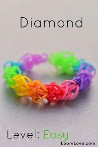How-to: Make A Diamond Rubber Band Bracelet #rainbow #loom