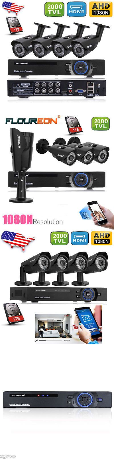 Surveillance Security Systems: 8 Channel 1080N Hdmi Dvr 2000Tvl Outdoor Cctv Home Security Camera System 1Tb BUY IT NOW ONLY: $161.99
