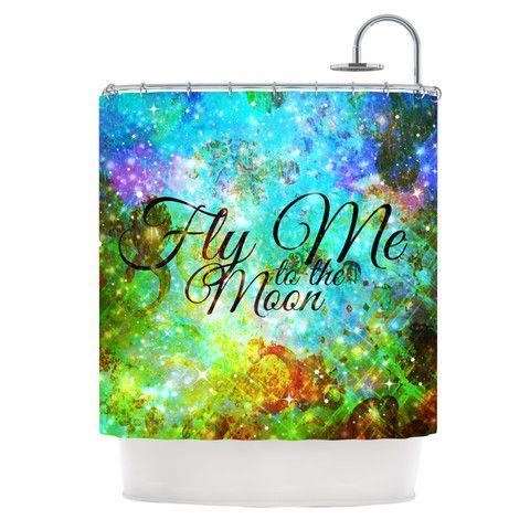 "Ebi Emporium ""Fly Me To The Moon"" Green Blue Shower Curtain | KESS InHouse"