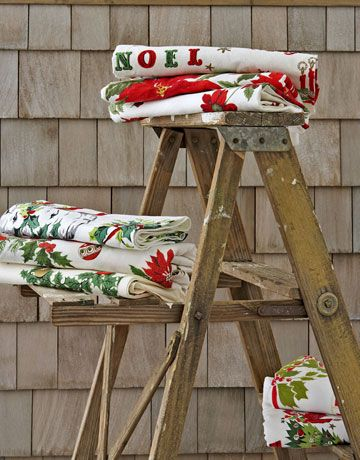 Noel Designs  RESOURCES     For more on vintage Christmas tablecloths, including cleaning and storing tips, visit vintagetableclothsclub.com. Here, a list of vintage textile dealers who specialize in affordable kitchen linens and are well-stocked throughout the year with Christmas tablecloths.