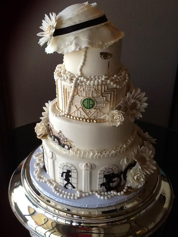 Great Gatsy themed wedding cake by 3 Women and an Oven.  http://3womendesserts.com/