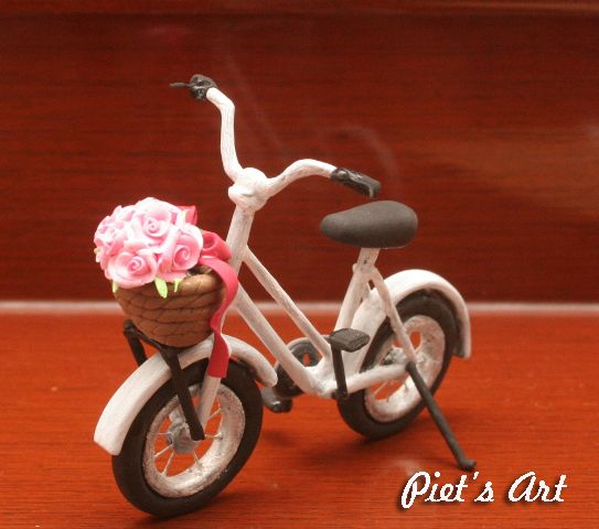 White bicycle from airdry clay