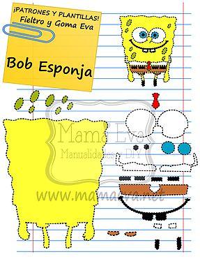 Descarga gratis nuestras plantillas para goma eva y fieltro de tus personajes de dibujos animados actuales favoritos: Bob Esponja, Patricio, Arenita...