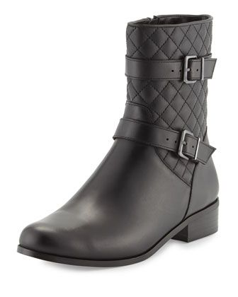 Rikki+Quilted+Leather+Bootie,+Black+by+Neiman+Marcus+at+Neiman+Marcus+Last+Call.