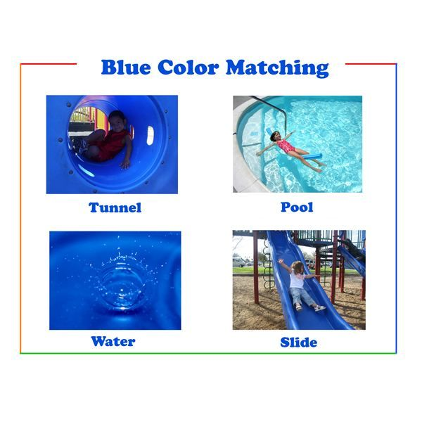 "Color Word Flash Cards for Teaching Young Children the Names of Colors - The blue color matching page includes the following objects: Tunnel, Pool, Water, Slide. Use the blue color matching sheet to get your child's creative mind in gear for a ""color picture day."" Give your child an old digital camera or a one-time/use disposable camera to take pictures of other objects that are blue."