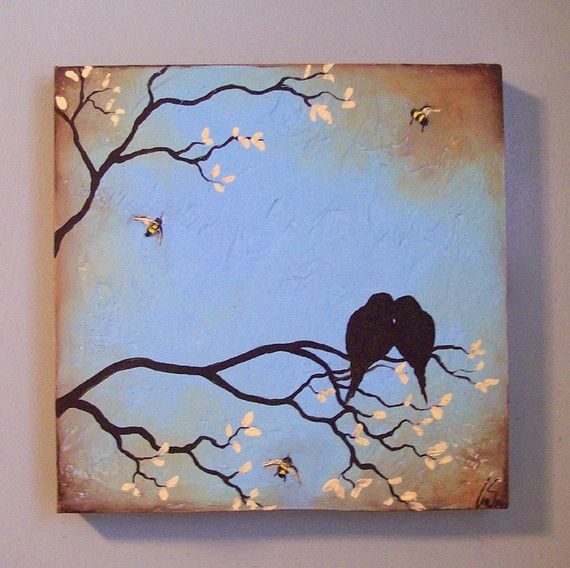 Original Textured Painting - Birds and Bees in Tree Branch