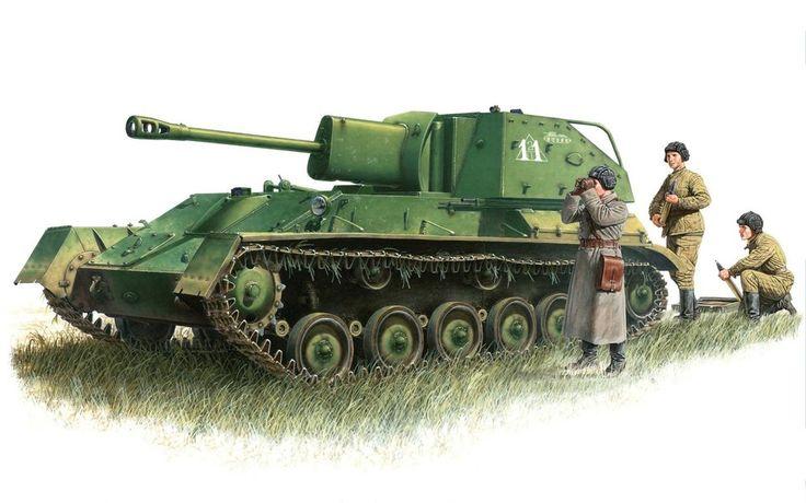 Se utilizó la artillería autopropulsada instalación acs ligero soviético