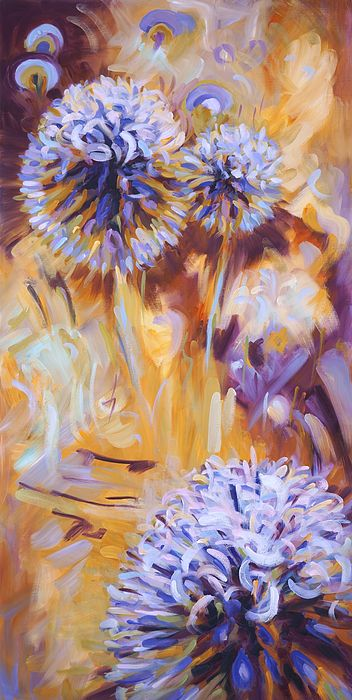 Echinops Globe Thistle. Oil painting by Dusan Balara. Right-side panel of thistle triptych.