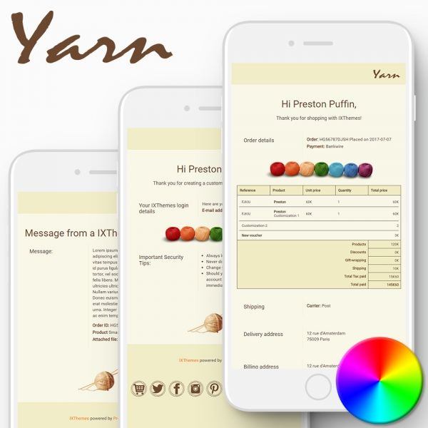 YARN PrestaShop Email Templates