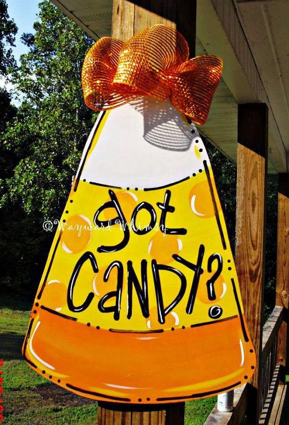 Candy Corn Door Halloween door hanger by THE WAYWARD WHIMSY On Etsy, $35.00