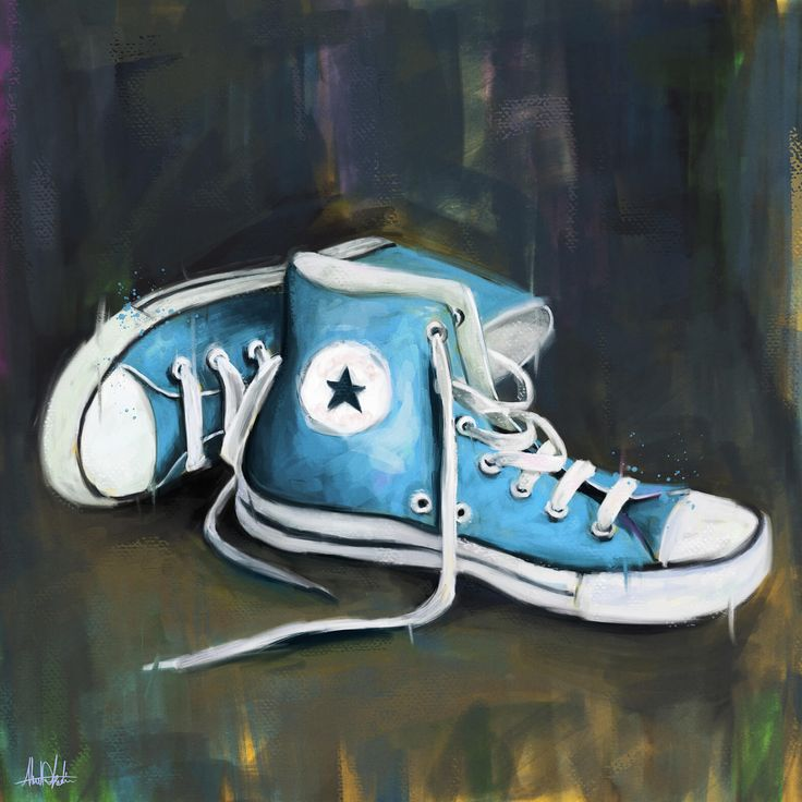 Painting for Blue Converse shoes painting on wood texture drawing by graphic designer artist in Dubai Ahmad Kadi +971562229501