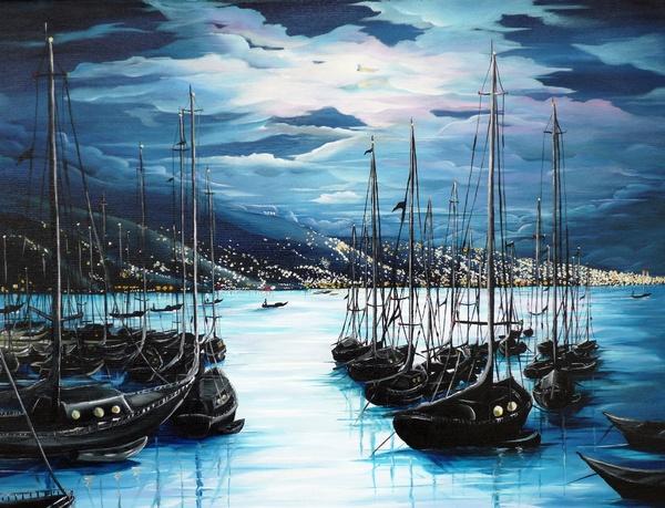 Marina Moonlight Port Of Spain Trinidad And Tobago Painting Greeting Card