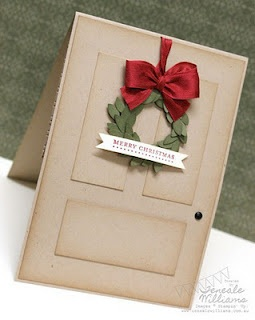 paper blocks of monochromatic colors to make card look like front door.