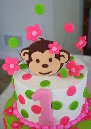 pink mod monkey cake and smash cake