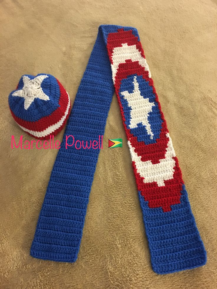 Crochet Captain America Hat & Scarf by Marcelle Powell ❤