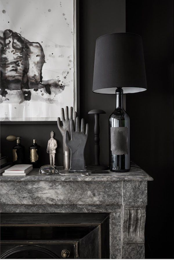 Black on Black mantlepiece styling | via Vosgesparis