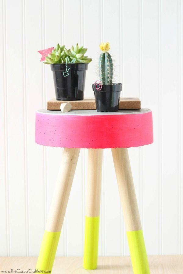 neon color block concrete stool 50 bedroom DIYs to try in 2016! on domino.com