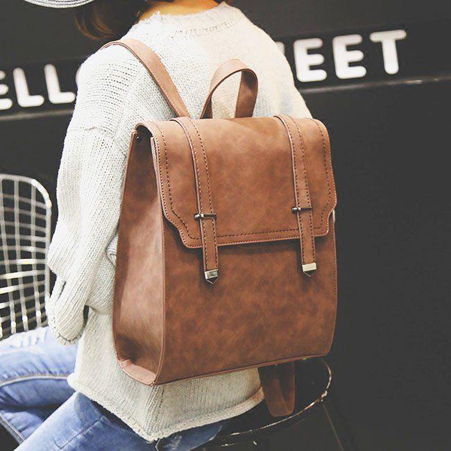 Retro Matte Square PU Metal Lock Match Large Scrub College Backpack