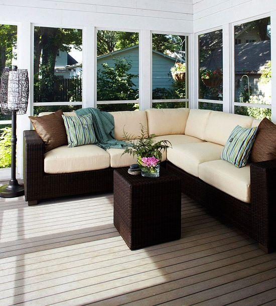 Outdoor Furniture: Decks Makeovers, Screens Porches, Backyard Dreams, Outdoor Furniture, Patio Furniture, Sunroom Furniture, Porches And Decks, Modern Porches, Porches Furniture