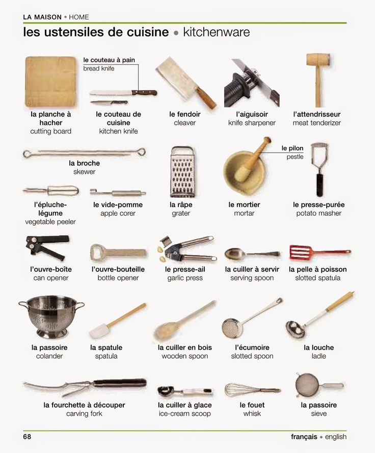 "Vocabulaire: ""[La maison:] Les ustensiles de cuisine"" - Vocabulary: [Home:] Kitchenware. French-English Visual Dictionary"