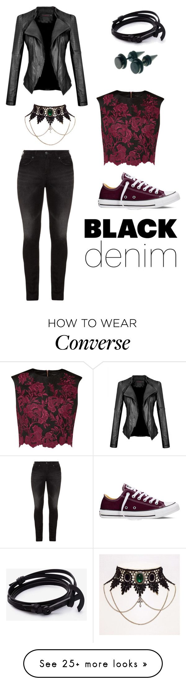 """Rose"" by doctor-nova on Polyvore featuring Silver Jeans Co., Ted Baker, Converse, women's clothing, women's fashion, women, female, woman, misses and juniors"