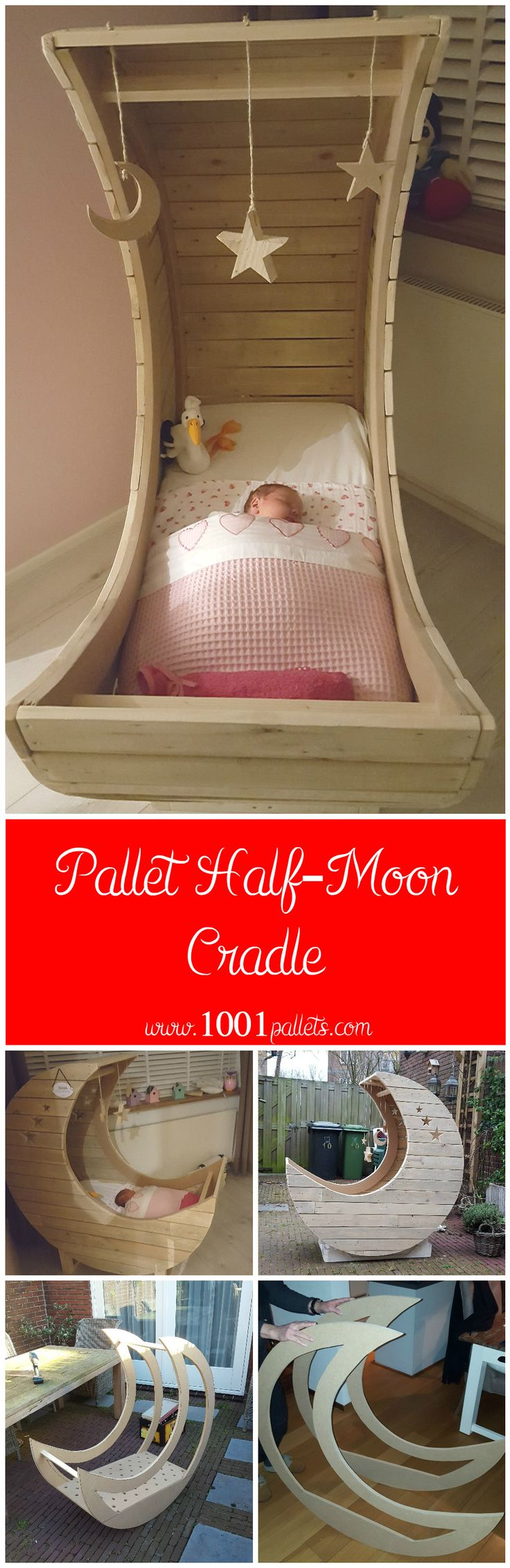 #Bedroom, #Cradle, #Kids, #MoonCradle, #PalletBed, #RecyclingWoodPallets I made this half-moon cradle from used pallets. I have all the pallets I needed from my work, so I don't know how much pallets exactly are in it. As always with any pallet project for a bedroom and even more for a baby or a kids, take a great care