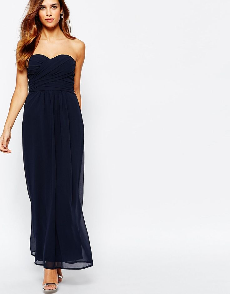 Elise Ryan Chiffon Maxi Dress With Sweetheart Neckline And Tie Back