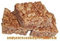 Rice Krispie squares recipe made with melted Mars chocolate bars added.