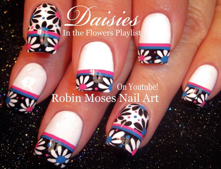 126 best robin moses images on pinterest design tutorials nail black and white daisy nail art nails nailart nail art prinsesfo Image collections