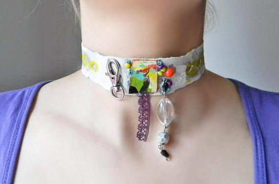 Hand painted white leather choker necklace Steampunk fashion