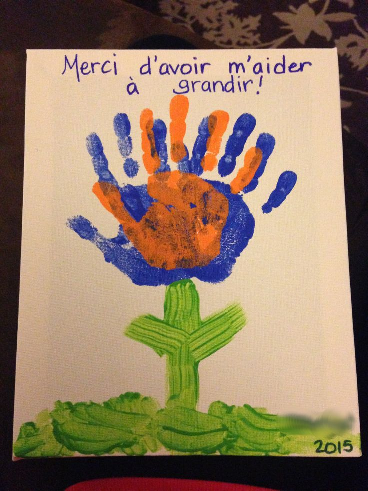 """French teacher gift/craft for end of year: """"Merci d'avoir m'aider à grandir"""" (thank you for helping me grow)."""